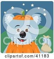 Clipart Illustration Of A Koala Bear Halloween Pumpkin Character