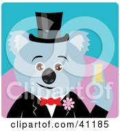 Clipart Illustration Of A Koala Bear Groom Character by Dennis Holmes Designs