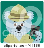 Clipart Illustration Of A Koala Bear Explorer Character by Dennis Holmes Designs