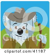 Clipart Illustration Of A Koala Bear Hiker Character by Dennis Holmes Designs