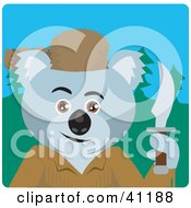 Clipart Illustration Of A Koala Bear Davey Crockett Character by Dennis Holmes Designs