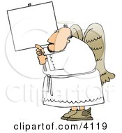 Male Angel With Wings And Halo Holding A Blank Sign Clipart