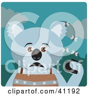 Clipart Illustration Of A Koala Bear Character Holding A Wallet And Being Surrounded By A Swarm Of Moths