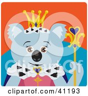 Clipart Illustration Of A Koala Bear Queen Character by Dennis Holmes Designs