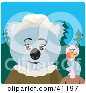 Clipart Illustration Of A Koala Bear Pilgrim Character Holding A Thanksgiving Turkey by Dennis Holmes Designs