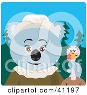 Clipart Illustration Of A Koala Bear Pilgrim Character Holding A Thanksgiving Turkey
