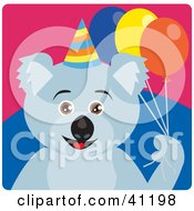 Clipart Illustration Of A Koala Bear Birthday Character by Dennis Holmes Designs