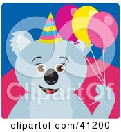 Clipart Illustration Of A Koala Bear Party Character by Dennis Holmes Designs