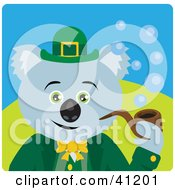 Clipart Illustration Of A Koala Bear Leprechaun Character by Dennis Holmes Designs