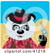 Clipart Illustration Of A Giant Panda Bear Cowgirl Character