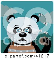 Clipart Illustration Of A Giant Panda Bear Character Holding A Wallet And Being Surrounded By A Swarm Of Moths