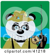 Giant Panda Bear Fishing Character