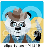 Clipart Illustration Of A Giant Panda Bear Cowboy Character