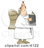 Male Angel Holding A Religious Book Clipart