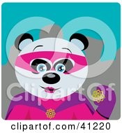 Clipart Illustration Of A Giant Panda Bear Female Super Hero Character