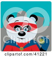 Clipart Illustration Of A Giant Panda Bear Super Hero Character