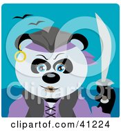 Clipart Illustration Of A Giant Panda Bear Pirate Character