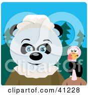 Giant Panda Pilgrim Bear Character Holding A Thanksgiving Turkey