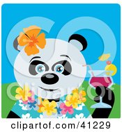 Clipart Illustration Of A Giant Panda Bear Hawaiian Tourist Character