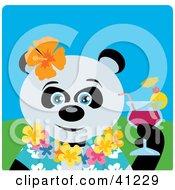 Giant Panda Bear Hawaiian Tourist Character