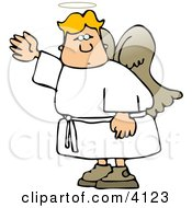 Male Angel Waving His Hand In The Air Clipart