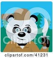 Clipart Illustration Of A Giant Panda Davey Crockett Bear Character
