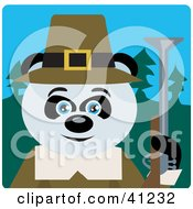 Clipart Illustration Of A Giant Panda Hunting Pilgrim Bear Character