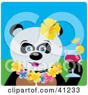 Clipart Illustration Of A Hawaiian Tourist Giant Panda Bear Character