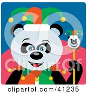 Clipart Illustration Of A Giant Panda Jester Bear Character