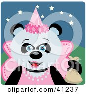 Clipart Illustration Of A Giant Panda Princess Halloween Bear Character by Dennis Holmes Designs