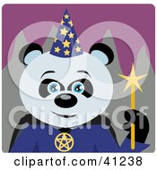 Clipart Illustration Of A Giant Panda Wizard Halloween Bear Character