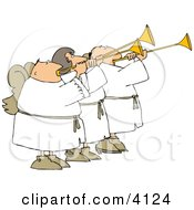 Three Angels Blowing Horns Clipart by Dennis Cox