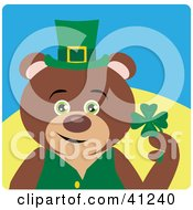 Clipart Illustration Of A Teddy Bear Leprechaun Character Holding A Clover by Dennis Holmes Designs