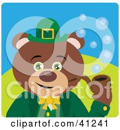 Clipart Illustration Of A Teddy Bear Leprechaun Character Smoking A Pipe by Dennis Holmes Designs