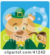 Clipart Illustration Of A Brown Bear Leprechaun Character Smoking A Pipe by Dennis Holmes Designs