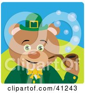 Clipart Illustration Of A Bear Leprechaun Character Smoking A Pipe