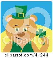 Brown Bear Leprechaun Character Holding A Clover