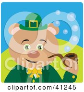 Clipart Illustration Of A Leprechaun Bear Character Smoking A Pipe by Dennis Holmes Designs