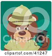 Clipart Illustration Of A Brown Bear Explorer Character