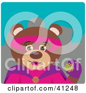 Clipart Illustration Of A Female Brown Bear Super Hero Character