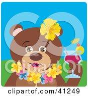 Female Hawaiian Tourist Brown Bear Character