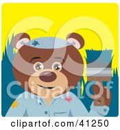 Clipart Illustration Of A Brown Bear Painter Character