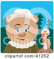 Clipart Illustration Of A Bear Pilgrim Character Holding A Turkey by Dennis Holmes Designs