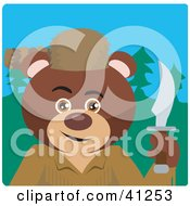 Clipart Illustration Of A Brown Bear Davey Crockett Character by Dennis Holmes Designs