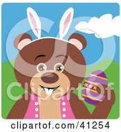 Clipart Illustration Of A Brown Bear Easter Bunny Character by Dennis Holmes Designs