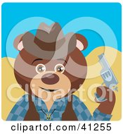 Clipart Illustration Of A Brown Bear Cowboy Character by Dennis Holmes Designs