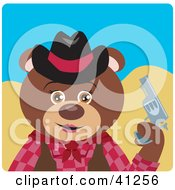 Clipart Illustration Of A Brown Bear Cowgirl Character by Dennis Holmes Designs