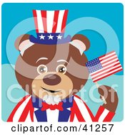 Clipart Illustration Of A Brown Bear Uncle Sam Character