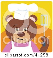 Clipart Illustration Of A Brown Bear Chef Character