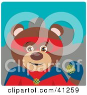 Clipart Illustration Of A Brown Bear Hero Character
